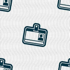 Id card icon sign Seamless pattern with geometric vector image