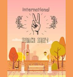 International peace day emblem autumn theme vector