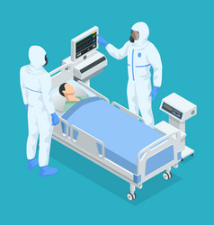 Isometric concept icu room in a hospital with vector