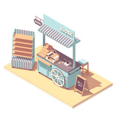 isometric retail kiosk or cart stand vector image