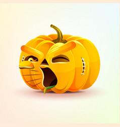 Jack-o-lantern terrible facial expression pumpkin vector