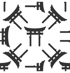 Japan Gate Torii icon pattern on white vector