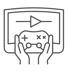 Joystick in hands thin line icon joypad in arms vector