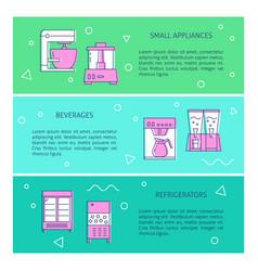 kitchen appliances concept flyer templates in line vector image