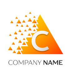 letter c logo symbol on colorful triangle vector image