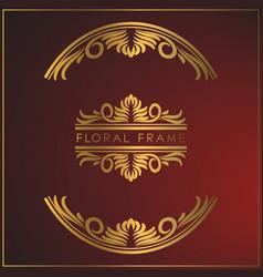 Luxury vintage golden floral ornament frame vector