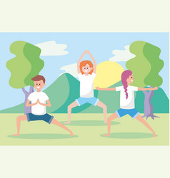 Man and women training yoga exercise pose vector