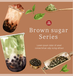 Match and brown sugar bubble milk tea ad content vector