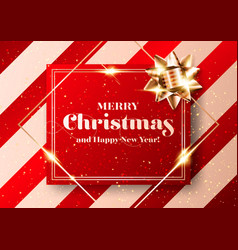 merry christmas chic background shiny red vector image