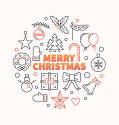 merry christmas round outline modern vector image