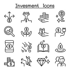 money investment icon set in thin line style vector image