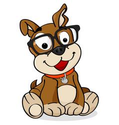 Nerd dog cartoon vector