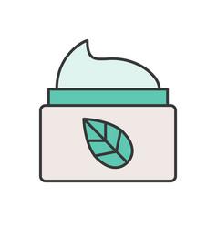 Organic herbal moisturizing cream jar cosmetic fi vector