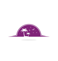 palm tree night nature logo vector image