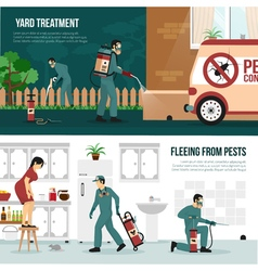 Pest control technology flat banners set vector