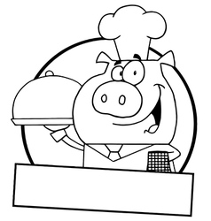 Pig waiter cartoon vector