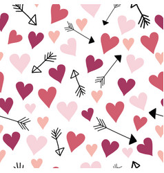 pink and red love hearts and arrows vector image