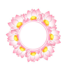 Pink indian lotus banner wreath vector
