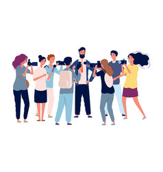 Political interview businessman talk with crowd vector