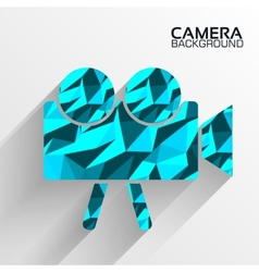 Polygonal camera blue background concept ta vector image
