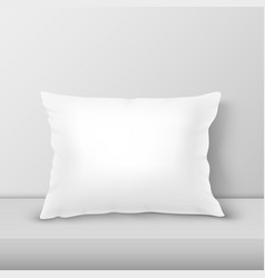 Realistic 3d white pillow closeup on table vector