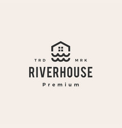 river wave house hipster vintage logo icon vector image