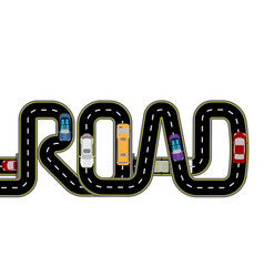 Road cars highway stylized inscription - the vector
