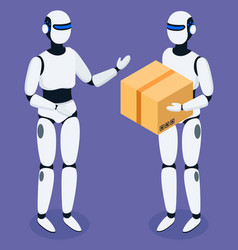 robots delivering boxes and orders for clients vector image