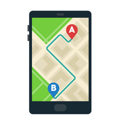 route on smart phone map icon flat isolated vector image