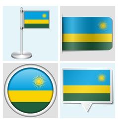 Rwanda flag - sticker button label flagstaff vector