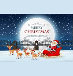 santa on merry christmas template vector image