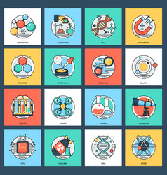 Science and technology flat icons set vector
