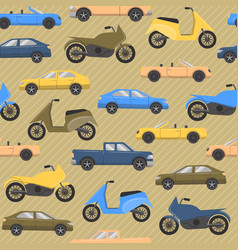 Seamless pattern with cars and motorbikes vector