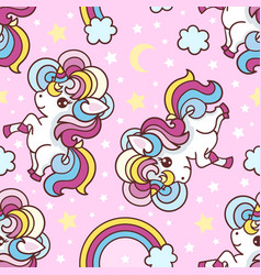 seamless pattern with unicorns rainbow vector image