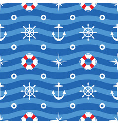 Seamless sea pattern wavy background symbolizing vector