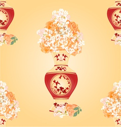 Seamless texture vase with tea roses vector