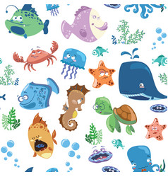 Seamless texture with cartoon fishes prints for vector