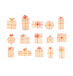 set cream-colored christmas gift boxes with red vector image
