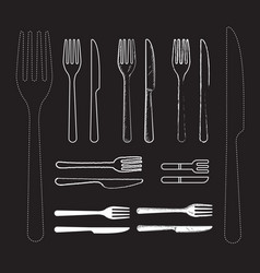Set knife and fork hand drawn vector
