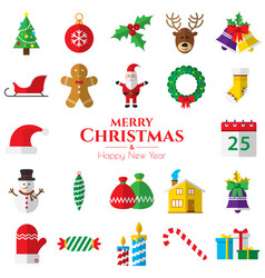 set of christmas icons on white background vector image