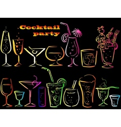 Set of cocktails vector