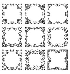 set square frames beautiful elegant floral vector image