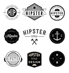 set vintage styled design hipster icons vector image