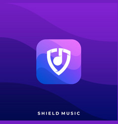 shield music icon application template vector image