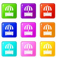 shopping counter with umbrella icons 9 set vector image