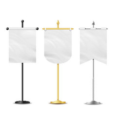 Small table flag set white blank vector