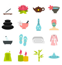 Spa treatments set flat icons vector