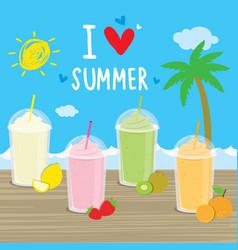 summer sea beach cartoon holiday vacation vector image
