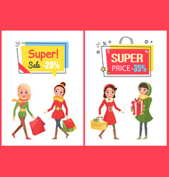 super sale and offer reduced price banners set vector image