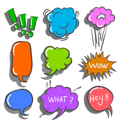 Text balloon style doodles collection vector